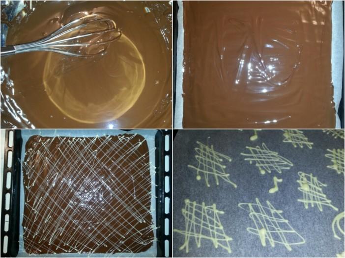 Išarani čokoladni listići sa šlagom i voćem