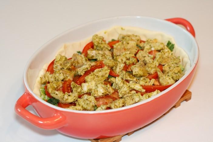 Pesto piletina s keljom rajčicom i lisnatim tijestom 5