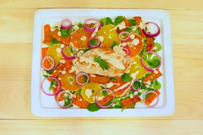 Salata s piletinom i crvenom narancom darkova web kuharica 2