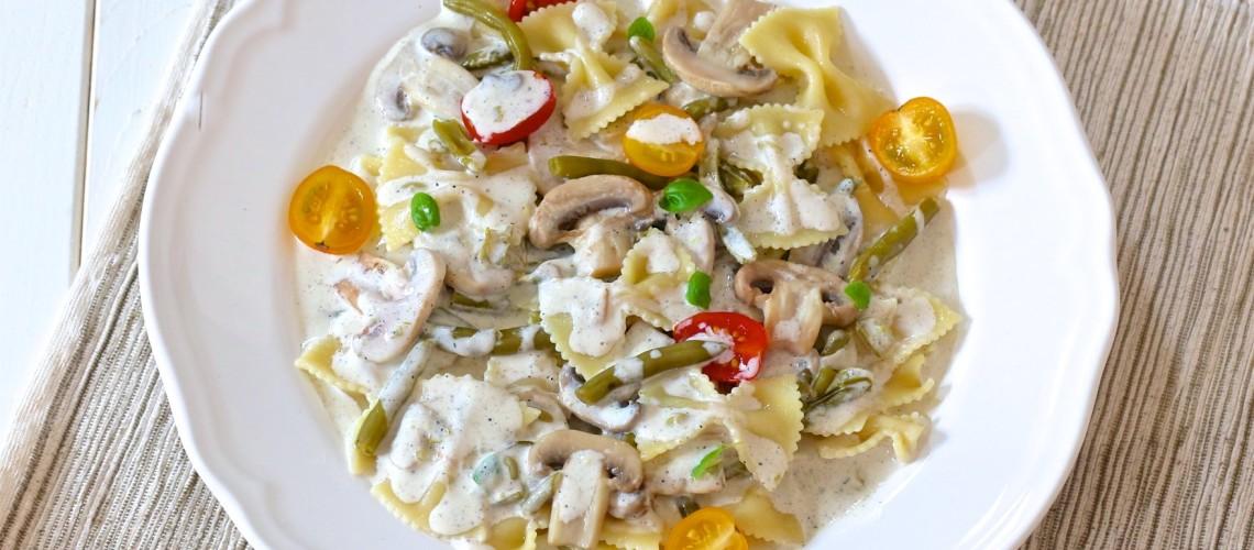 Farfalle tjestenina u umaku od gljiva i mahuna recept