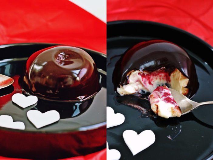 mousse od bijele čokolade, insert od višanja i mirror glazura