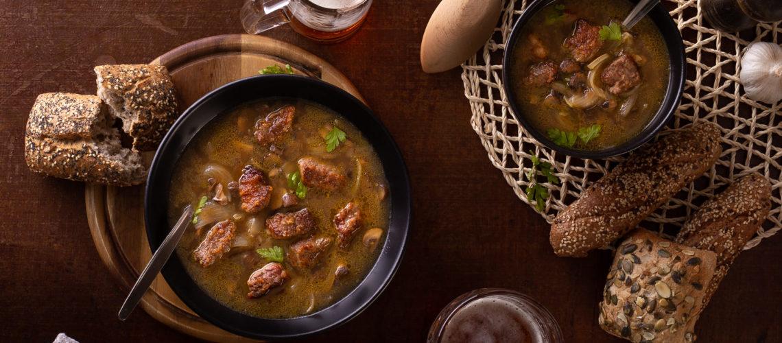 Pale ale juha s govedinom i gljivama
