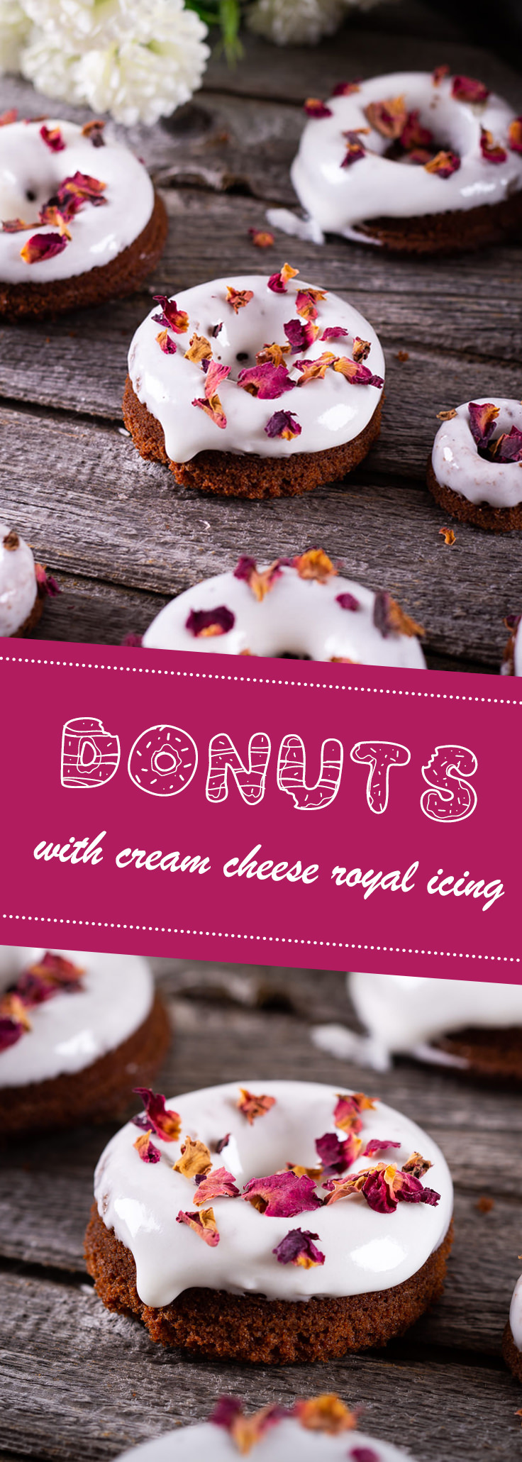 Pinterest donuts with rose and cream cheese royal icing
