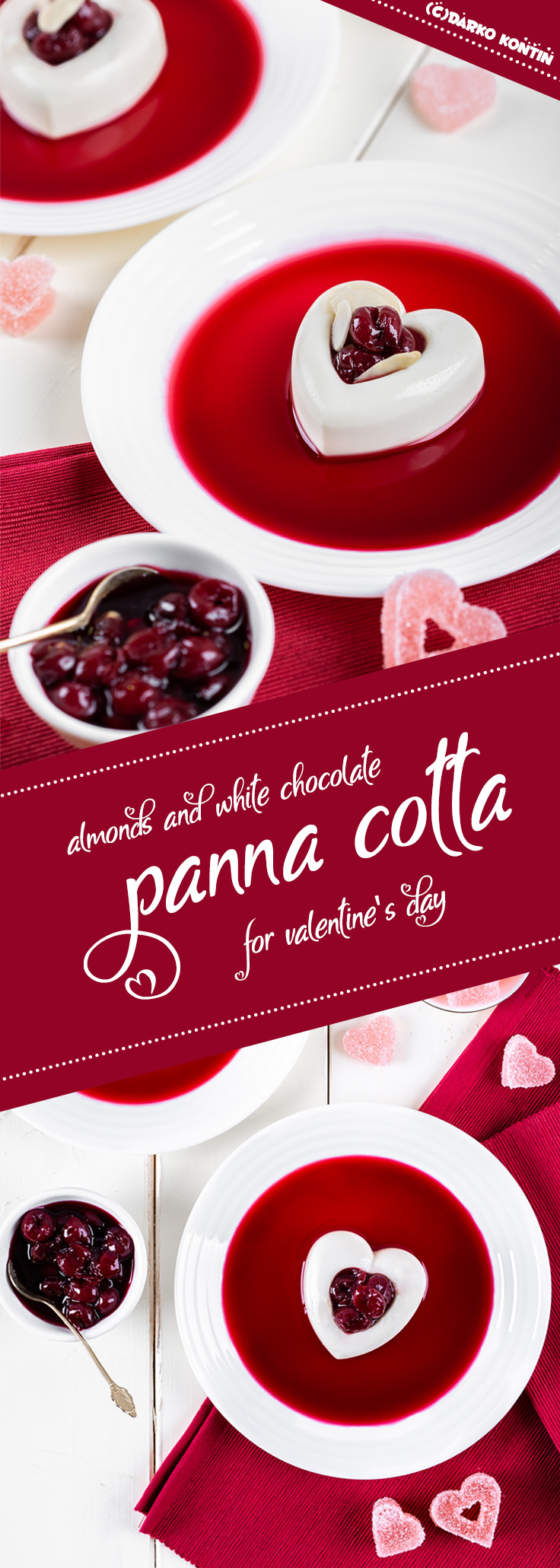 Valentines day almond white chocolate Panna cotta Pinterest